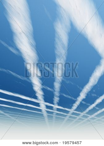 high resolution 3d blue sky background with white clouds and airplane or plane trails or traces. Ideal for nature,health,sport or holiday designs