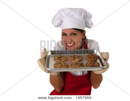 Happy Mother Baking Chocolate Chip Cookies