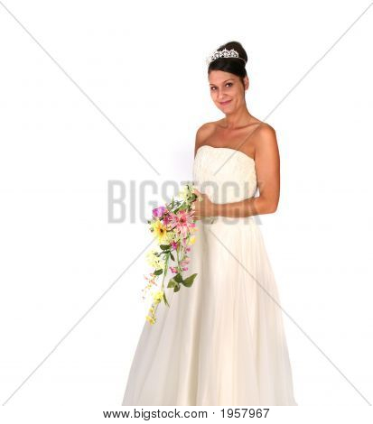 Beautiful Bride With Colorful Floral Bouquet