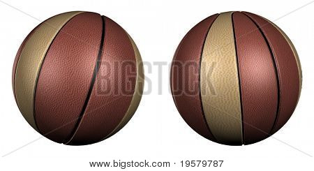 high resolution 3d brown basketballs collection isolated on white background, best for sport and team related designs