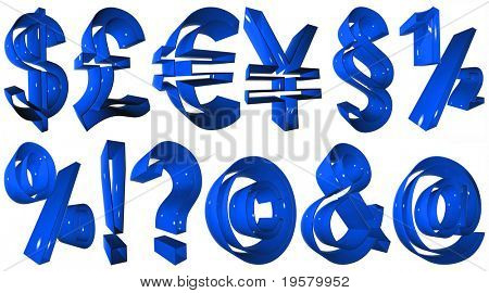 high resolution 3D blue symbols collection or set rendered at maximum quality ideal for web,business, or conceptual designs