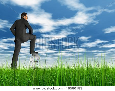 high resolution 3d green grass over a blue sky with white clouds and 3D virtual man standing on a 3D pound symbol. Ideal for nature,green, finance or business designs.
