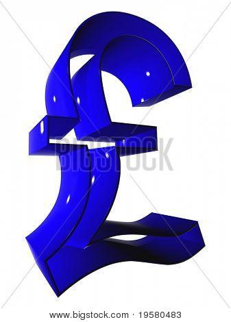 símbolo de libra azul 3D de alta resolución rindió en máxima calidad ideal para web, negocio o conceptu