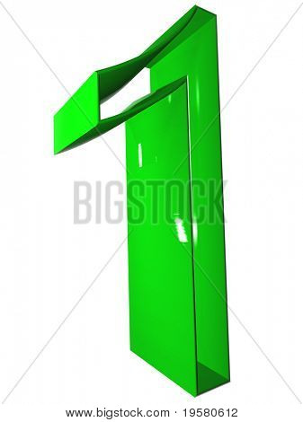 high resolution 3D green one symbol rendered at maximum quality ideal for web,business, or conceptual designs,isolated on white background