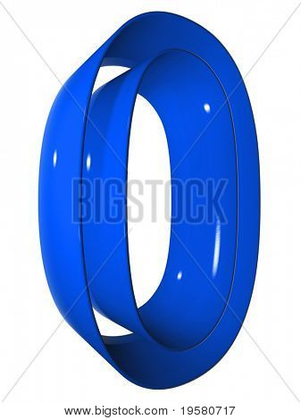 high resolution 3D blue zero symbol rendered at maximum quality ideal for web,business, or conceptual designs,isolated on white background
