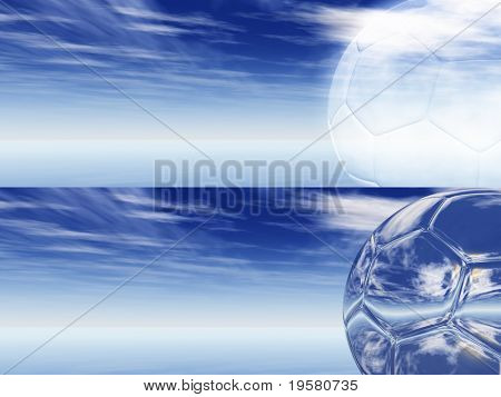 2 horizontal banners with a silver and white soccer balls over a blue sky with white clouds, ideal for web or sport designs