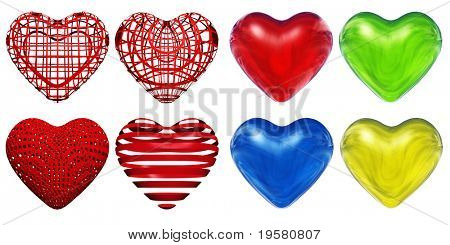 3D red,blue,yellow and green glass hearts set or collection isolated on white background, ideal for holiday, valentine, love, wedding or medical designs