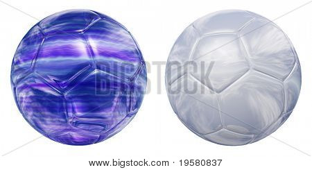 white and blue 3D glass or water soccer balls set or collection  isolated on white background, for sport and recreation designs isolated on white background