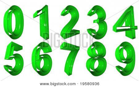 high resolution 3D green number symbols set or collection rendered at maximum quality ideal for web,business, or conceptual designs,isolated on white background. The numbers are 0,1,2,3,4,5,6,7,8,9.