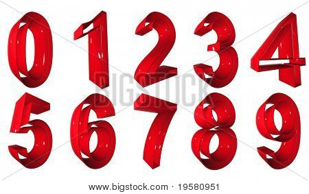 high resolution 3D red number symbols set or collection rendered at maximum quality ideal for web,business, or conceptual designs,isolated on white background. The numbers are 0,1,2,3,4,5,6,7,8,9.
