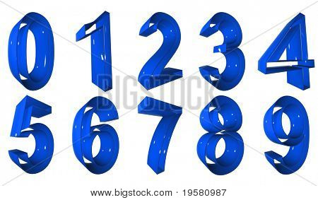 high resolution 3D blue number symbols set or collection rendered at maximum quality ideal for web,business, or conceptual designs,isolated on white background. The numbers are 0,1,2,3,4,5,6,7,8,9.