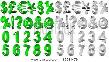 high resolution 3D green and grey  symbols rendered at maximum quality ideal for web,business, or conceptual designs