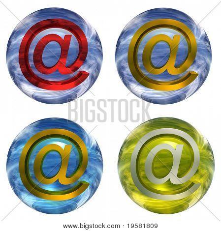 3D conjunto de esferas de vidrio azul y amarillo o colección aislado sobre fondo blanco, con un oro o ye