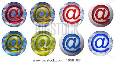 3d blue and yellow glass spheres set or collection isolated on white background,with an golden, yellow metal and red 3d at or mail symbol for web design buttons or signs.