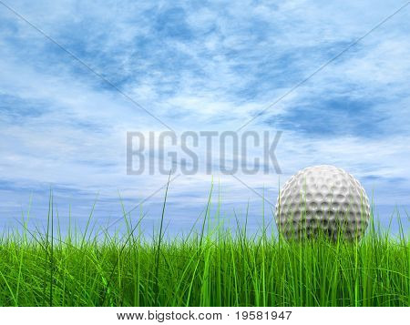 3d white golf ball in green grass on a blue sky with clouds background, for sport, recreation, or golf play designs