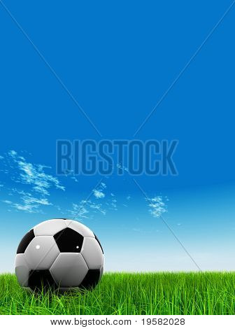 3d leather black and white soccer ball on green grass over a natural blue sky background with white clouds.