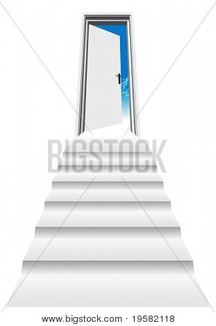 high resolution 3D opened door, isolated on white, with a stair heading to a blue sky ideal for business, conceptual, constructions or real estate designs