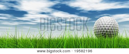 3d white golf ball in green grass on a blue sky banner with clouds background, for sport, recreation, or golf play designs