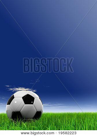 3D balón de fútbol blanco y negro de cuero en verde hierba sobre un fondo de cielo azul natural con blanco
