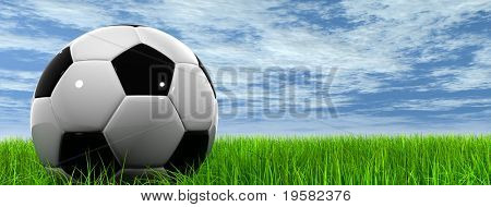 3d soccer ball on green grass over a natural blue sky banner background with white clouds