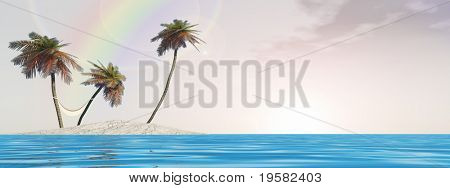 small isolated island with palm trees and a hammock over a clear blue water and sky with a rainbow banner