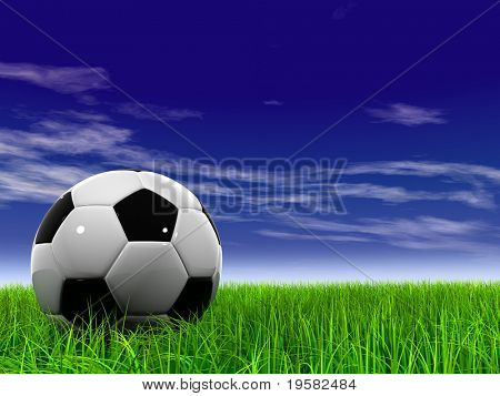 3d soccer ball on green grass over a natural blue sky background with white clouds, ideal for sport and leisure designs