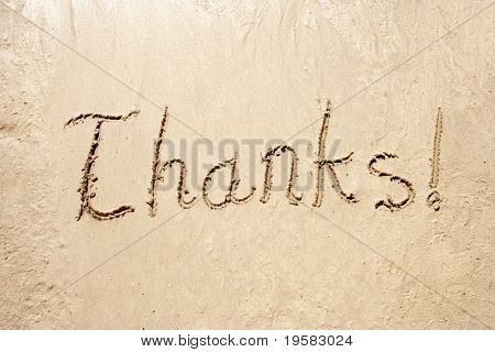 Thanks! handwritten in sand for natural, symbol,tourism or conceptual designs