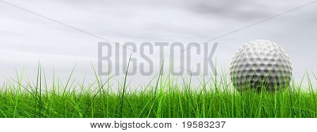 3d white golf ball in green grass on a grey sky banner with clouds background