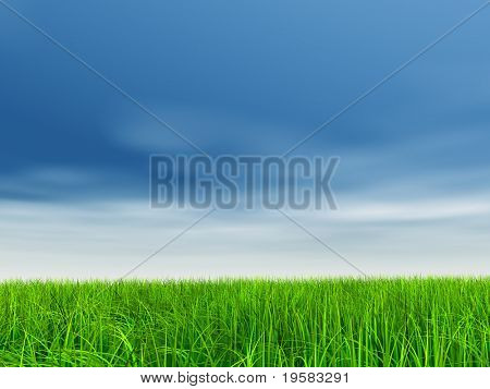 high resolution 3d green grass over a blue sky with white clouds as background