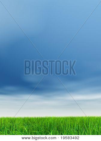 hierba verde 3d de alta resolución sobre un cielo azul con nubes blancas como fondo y un horizonte claro
