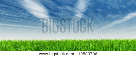 high resolution 3d green grass over a blue sky with white clouds as background and a clear horizon with airplane trails