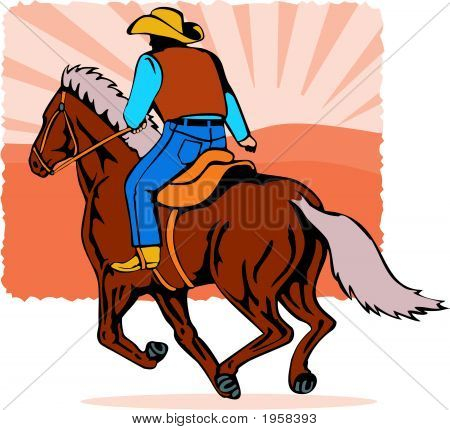 Cowboy On Horseback At Full Gallop