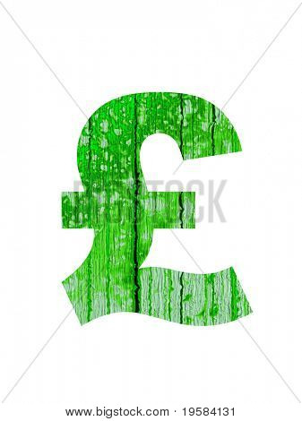 high resolution green sterling pound  symbol isolated on white background