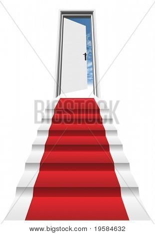 3D red carpet on a stair in front of an opened door to a blue sky