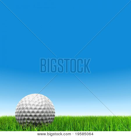 High resolution  white golf ball in green grass  background, for sport, recreation, or golf play designs