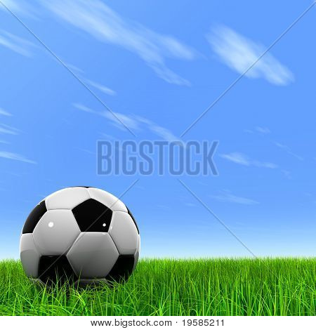 3d leather black and white soccer ball on green grass over a natural clear blue sky background