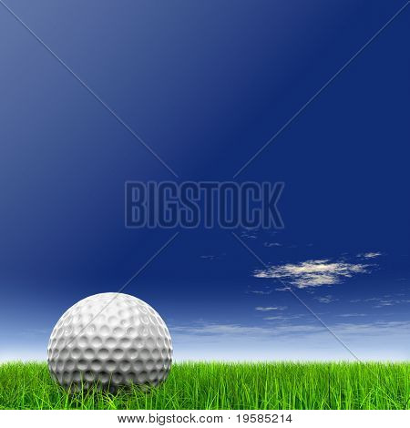 3d white golf ball in green grass on a blue sky with clouds background