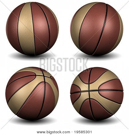 High resolution 3D basketball isolated on white background
