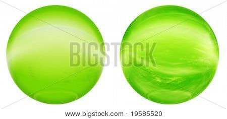 High resolution 3d green glass spheres isolated on white background. It is a sphere reflecting a sky with clouds