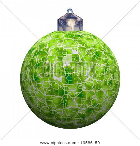 High resolution Christmas ornament, rendered at maximum quality. Broken glass sphere isolated on white