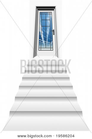 High resolution 3D closed door, isolated on white, with a stair heading to a blue sky