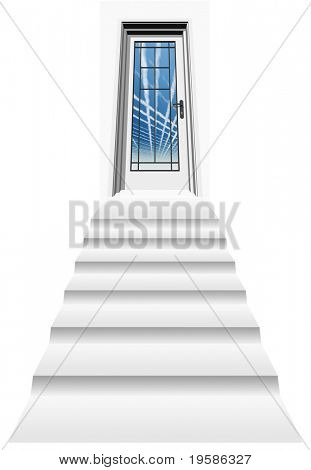 high resolution 3D closed door, isolated on white, with a stair heading to a blue sky with plane trails
