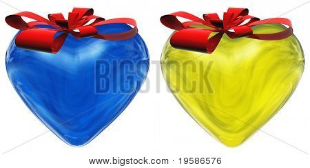 3D blue and yellow glass hearts isolated on white background with red ribbons