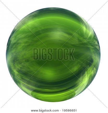 High resolution 3d green glass sphere isolated on white background. It is a sphere reflecting a sky with clouds