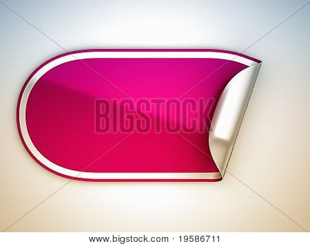 Pink Rounded Bent Sticker Or Label