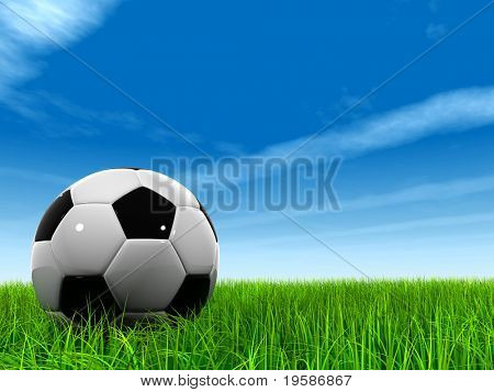 High resolution 3d leather black and white soccer ball on green grass over a natural blue sky background with white clouds and plane traces or trails