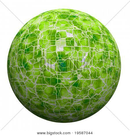 High resolution 3d green broken glass sphere isolated on white background