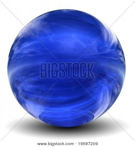 High resolution 3D blue glass sphere with shadow isolated on white, reflecting a sky with cloudswron