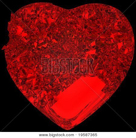 Red Broken Crystal Heart: Unrequited Love