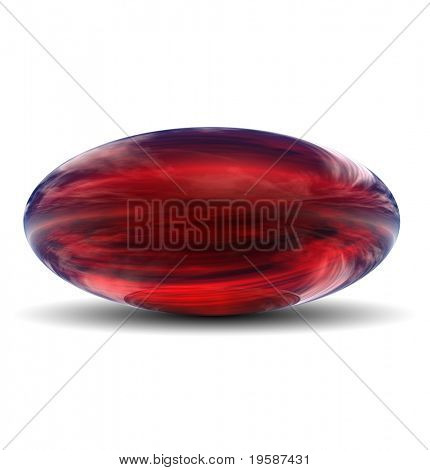 High resolution 3D red glass ovoid with shadow isolated on white, reflecting a sky with clouds